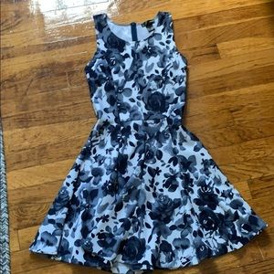 Blue and white Aqua flared flowered dress